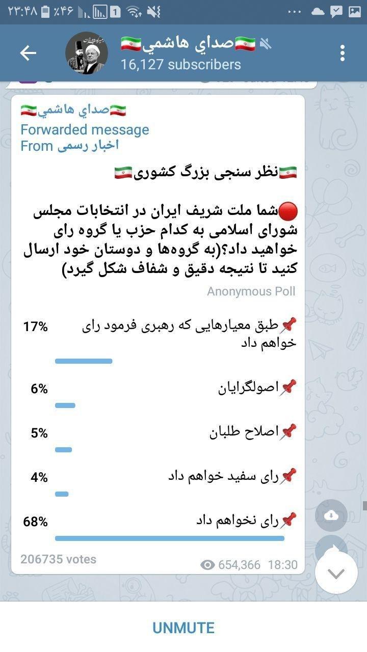 در بین نظرسنجیهای تلگرام، نظر … 813118001581034806