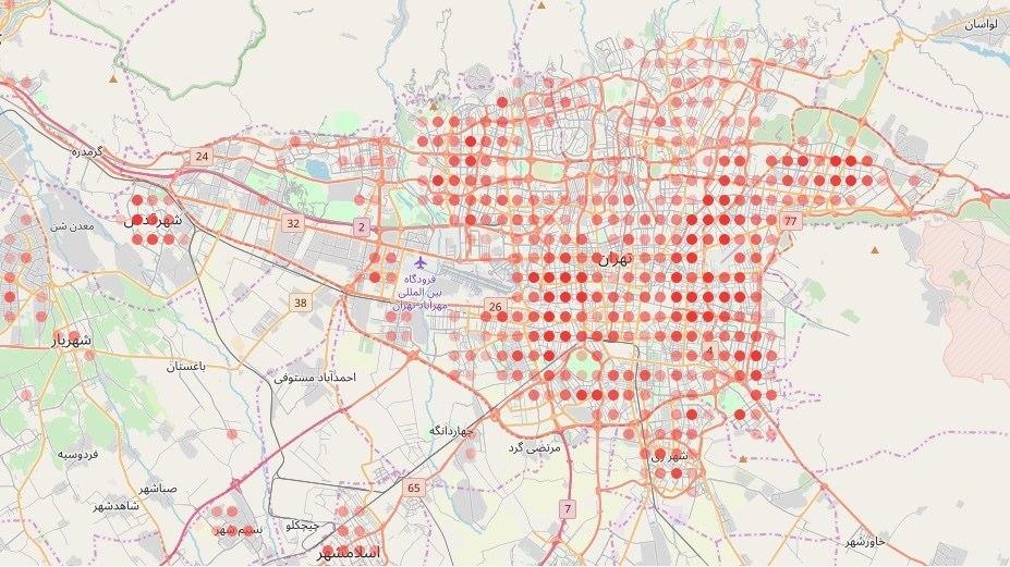 کرونا در تهران؛ نقشه 'مناطق پ … 268317001583771405