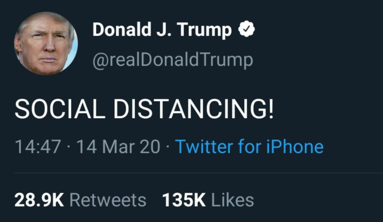 ترامپ تازه Social Distancing ر … 527189001584213006