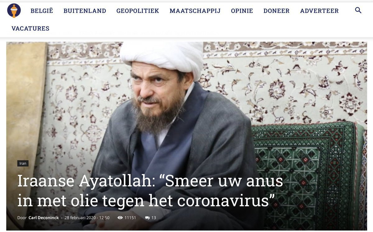 تیتر رسانه بلژیکی: «آیتالله ا … 841968001583019005
